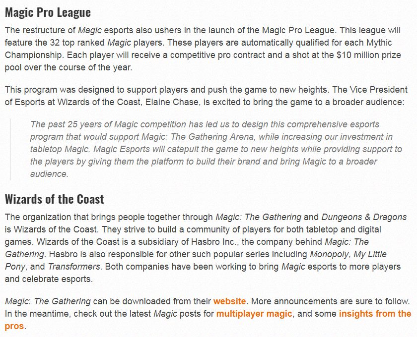 Magic Pro League (9 pm announcement got spoiled early) - The Rumor